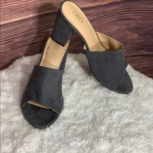 CATO Grey suede mules